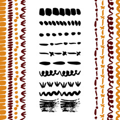 Hand-drawn simple vector brushes collection. Dividers, borders, ornament brushstrokes. Ink elements. Brushes included