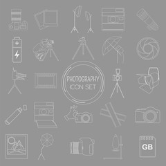 Photography icon set with photo, camera equipment. Outline versi