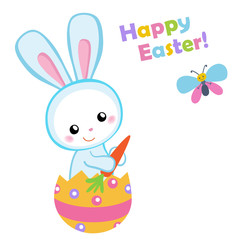 Happy Easter. Cute Easter bunny sitting in a egg. Vector illustration. Set Isolated separately on white background.