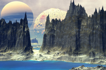 Alien Planet. Lake, rocks and moon