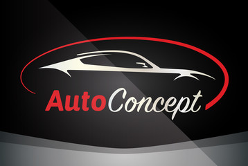 Auto Company Logo Vector Design Concept with Sports Car Silhouette - Red