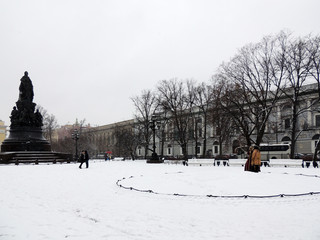 Snowfall Ostrovsky Square, St. Petersburg