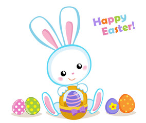 Happy Easter. Cute Easter bunny sitting with a basket. Vector illustration. Set Isolated separately on white background