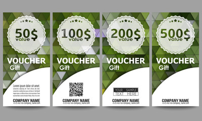 Set of modern gift voucher templates. Polygonal design vector, colorful geometric triangular backgrounds