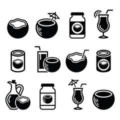 Coconut milk, oil, cocktail - vector icons set
