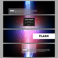 Set of modern vector banners. Flashes against dark background