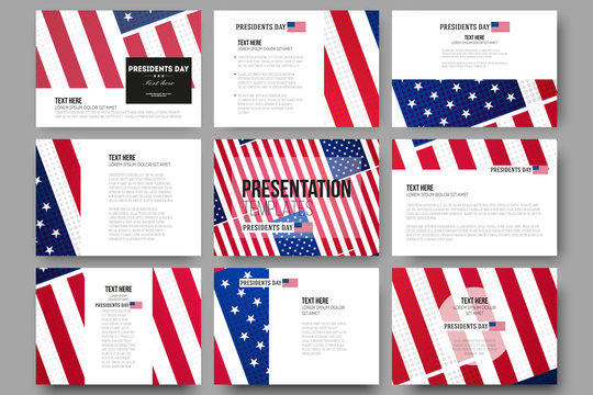 Set of 9 vector templates for presentation slides. Presidents day background, abstract poster with american flag