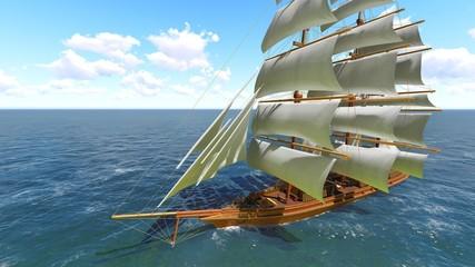 Pirate brigantine at sea