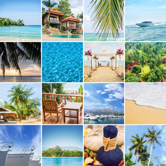 Set of photos about different traveling destinations and activities in Thailand.
