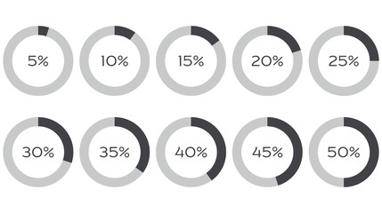 Infographics vector: 5%, 10%, 15%, 20%, 25%, 30%, 35%, 40%, 45%, 50% grey diagrams, isolated on white background