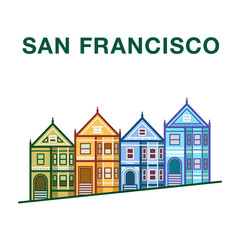 San Francisco Victorian Houses. San Francisco vector landmark illustration.