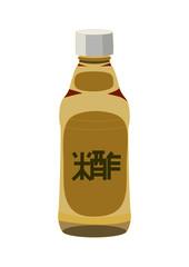 Bottle of rice vinegar for sushi, isolated on a white. Vector illustration