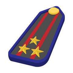 Military epaulets cartoon icon