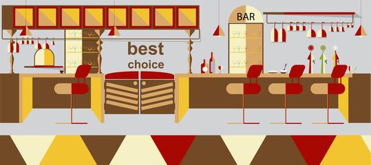 Bar interior vector illustration