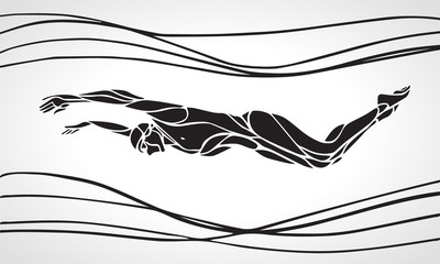 Butterfly Swimmer Silhouette. Sport swimming