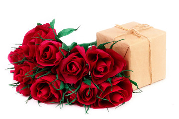 Paper red roses and gift for Valentine's Day