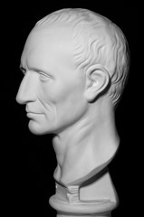 White gypseous head of a man, profile,