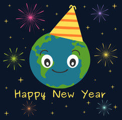 earth happy new year funny cute holidays vector illustration with stars and fireworks