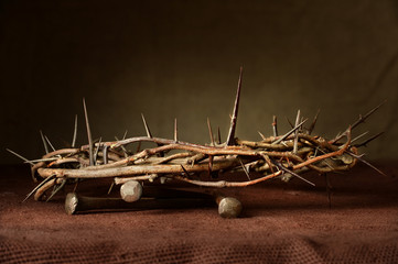 Nails and Crown of Thorns on Cloth