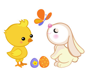 Happy Easter. Cute Easter bunny and a cute chick. Vector illustration. Set Isolated separately on white background.