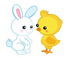 Happy Easter. Cute Easter bunny and a cute chick.