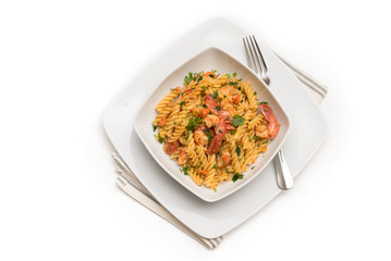 Fusilli ai gamberi e pomodoro, pasta with shrimps and tomato sauce