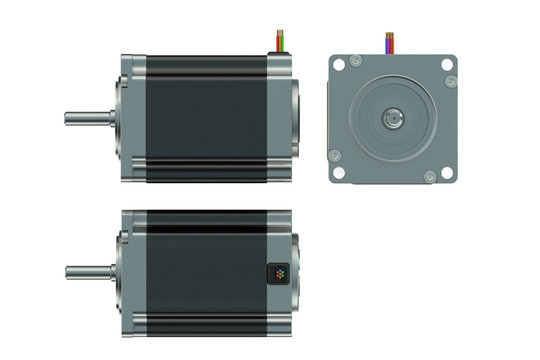 Stepper motor top side and front views