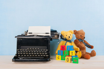 Vintage bears and typewriter