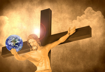 Jesus on the cross with a halo and the world in his hand with a cloud and stone background. Earth photo courtesy of Nasa.