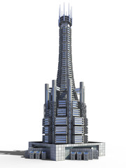 Futuristic city architecture of skyscraper with the isolation work path included in the jpg file, for science fiction or fantasy backgrounds