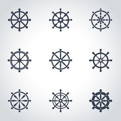 Vector black rudder icon set. Rudder Icon Object, Rudder Icon Picture, Rudder Icon Image - stock vector