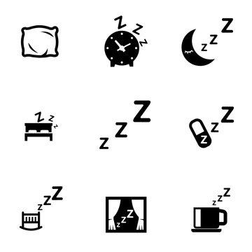 Vector black sleep icon set. Sleep Icon Object, Sleep Icon Picture, Sleep Icon Image - stock vector