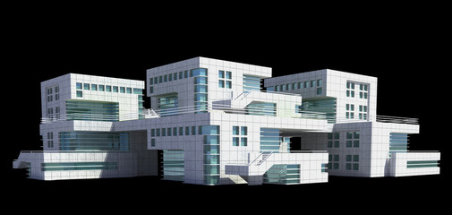 Futuristic architecture of modern apartment building or house with the isolation work path included in the jpg file