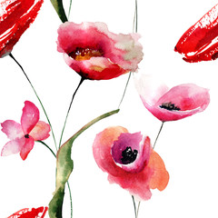 Seamless wallpaper with Poppies flowers