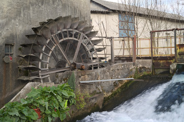 Wheel water mill in Reana del Rojale, Friuli, Italy