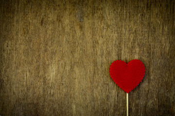 Love heart on wooden texture background, valentines day