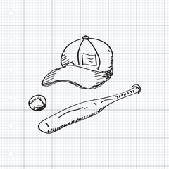 Simple doodle of baseball equipment