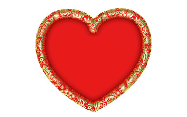Beautiful big gold heart frame with floral ornament on a white background. Render.