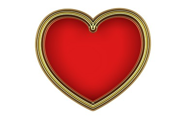 Beautiful big striped gold heart frame on a white background. Render.