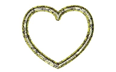 Beautiful big black metal heart frame with floral golden ornament on a white background. Render.