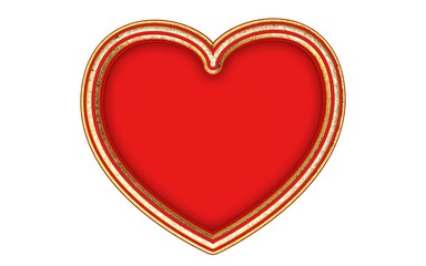 Beautiful big striped gold heart frame with red background. Render.