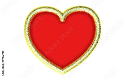 Beautiful big textured gold heart frame on a white background ...