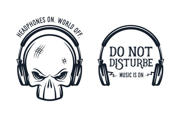 Skull in headphones print with quote. Vintage vector illustration