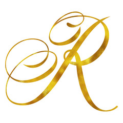 Monogram R Gold Faux Foil Monograms Metallic Initials