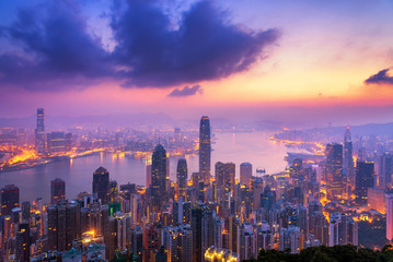 Beautiful colorful Sunrise over Victoria Harbor as viewed a top