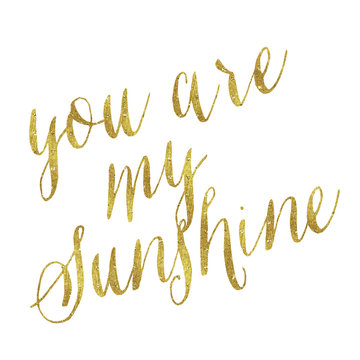 You Are My Sunshine Gold Faux Foil Metallic Glitter Quote Isolat