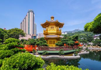 Beautiful Golden Pagoda Chinese style architecture in nanlian ga Wall mural