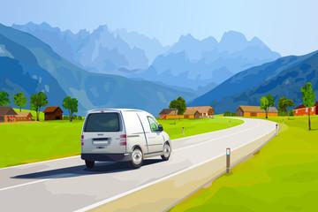 Fototapete - Alps car travel