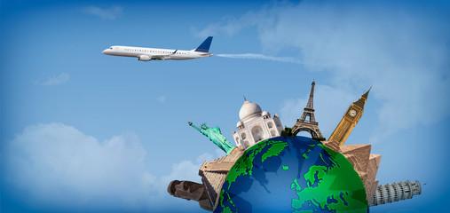 Travel around the world concept airplane