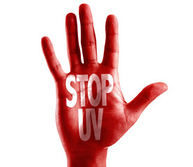 Stop UV written on hand isolated on white background